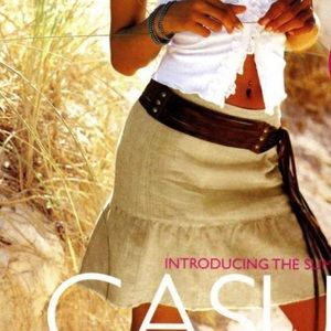 High waisted linen mini skirt